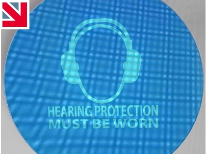 New weatherproof noise activated hearing protection signs