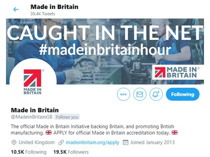 Visibility and credibility of manufacturers caught in the Made in Britain Twitter net: 25 March 2021